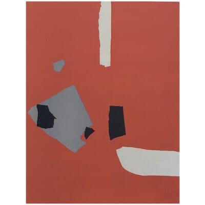 Nicolas De Staël ( d'après ) Composition sur fond orange, Lithographie de 1958