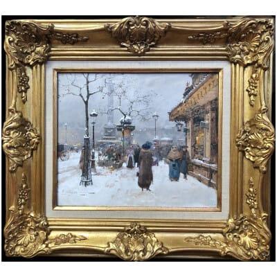 GALIEN LALOUE Eugène tableau début 20ème siècle Vue de Paris Animation Place de la Bastille Gouache signée