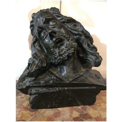 Importante Sculpture En Bronze Tête De Christ Du 19éme Siècle