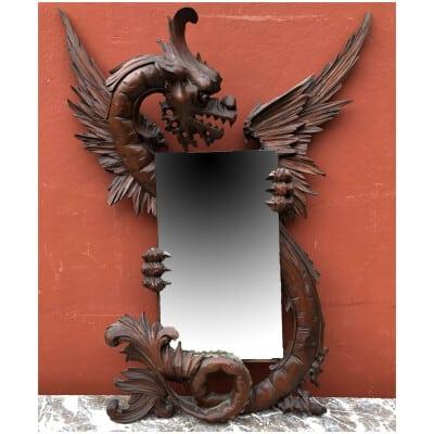 Ancien Miroir Au Dragon Bois Sculpté Dans Le Gout De Viardot