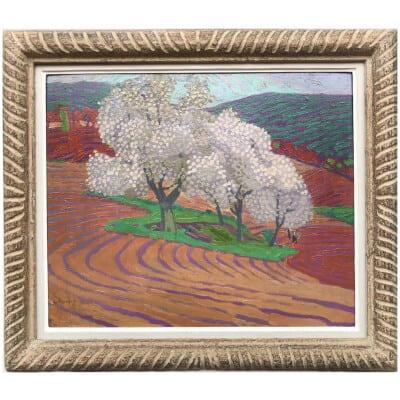 JOUHAUD Léon Tableau 20è siècle Paysage fauve Huile sur carton signée