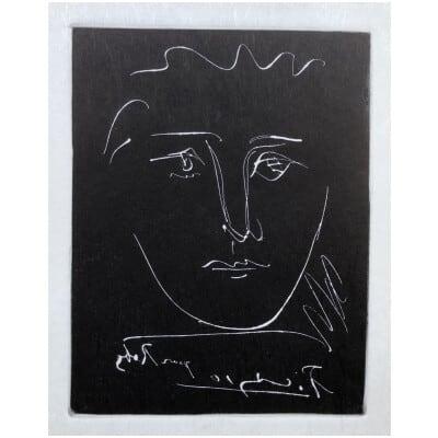 PICASSO Pablo ( d'après ) visage pour Roby Gravure en noir signée dans la planche