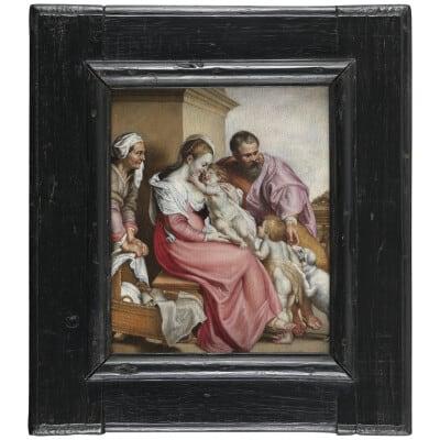 Sainte Famille avec Ste Elisabeth et St Jean-Baptiste – Ecole française XVIIe siècle