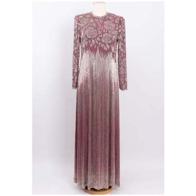 Robe en soie brodée de perles Jean-Louis Scherrer Haute Couture