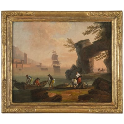 Retour de pêche au soleil couchant – Ecole de Joseph Vernet 18e siècle