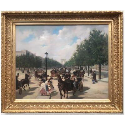 WIRTH Henri Prosper Tableau Français belle époque Paris Avenue des Champs Elysées Huile signée