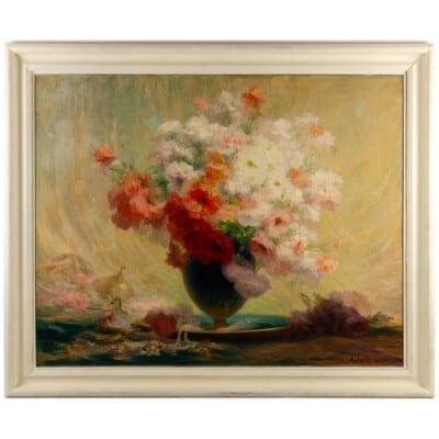 Achille Cesbron (1849 – 1913) : Bouquet de fleurs.