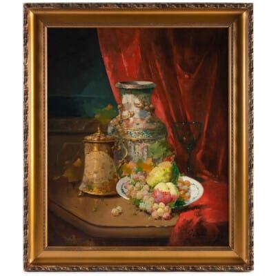 Emile Godchaux (1860 – 1938) : Assiette de fruits au vase de Chine.