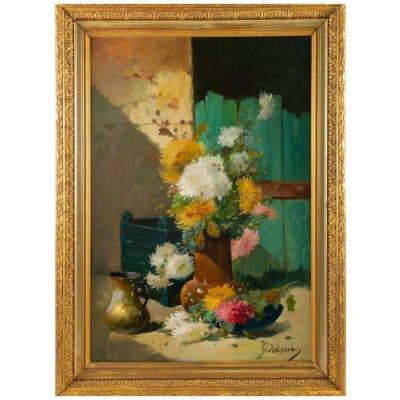 Emile Godchaux (1860 – 1938): Bouquet de chrysanthèmes.