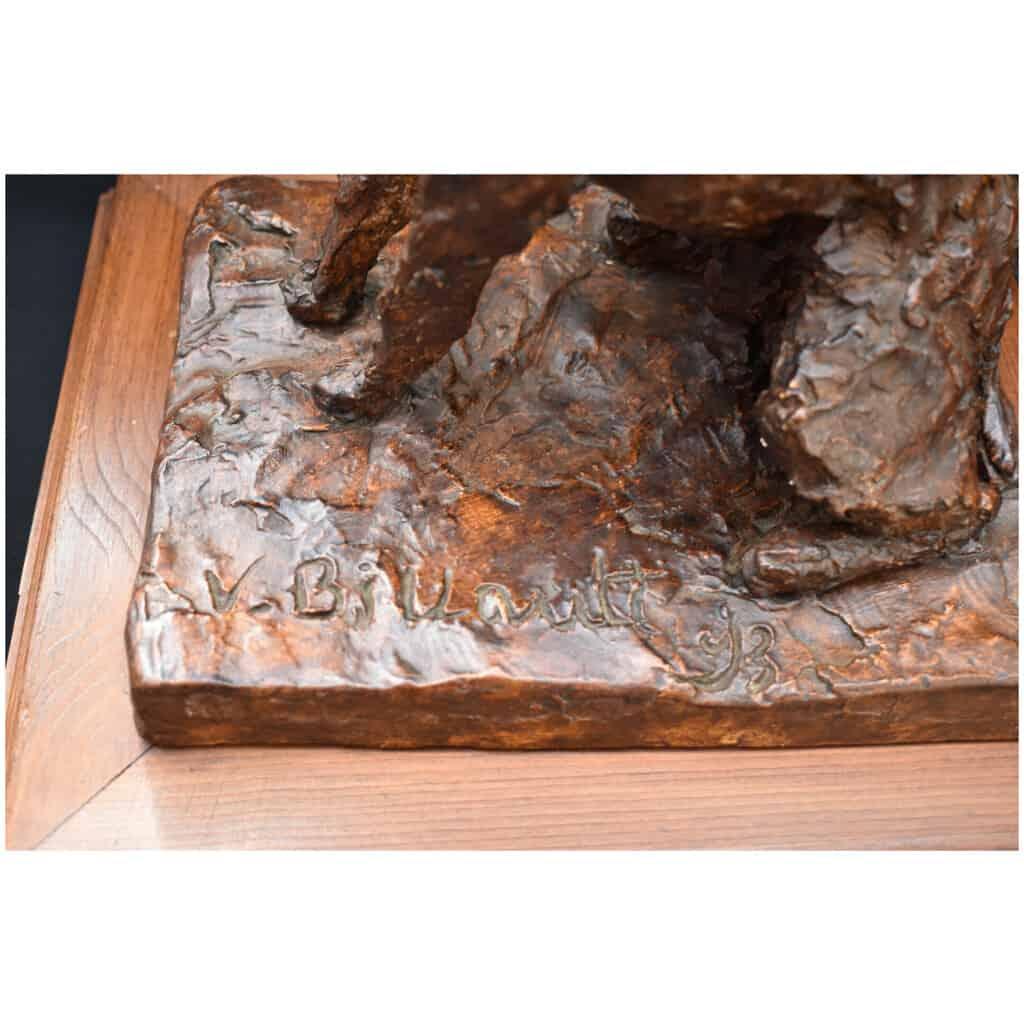 Sculpture Signée d'Un Chien Griffon En Plâtre