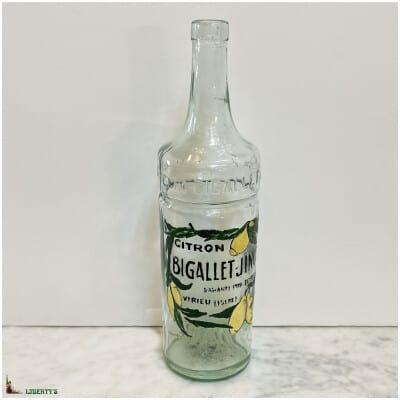 Bouteille en verre emaillée, Bigallet-Jinot, haut. 31 cm (Deb. XXe)