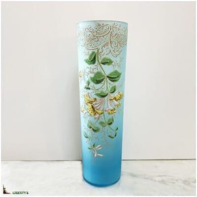 Vase rouleau verre émaillé, haut. 35 cm (Fin XIXe)