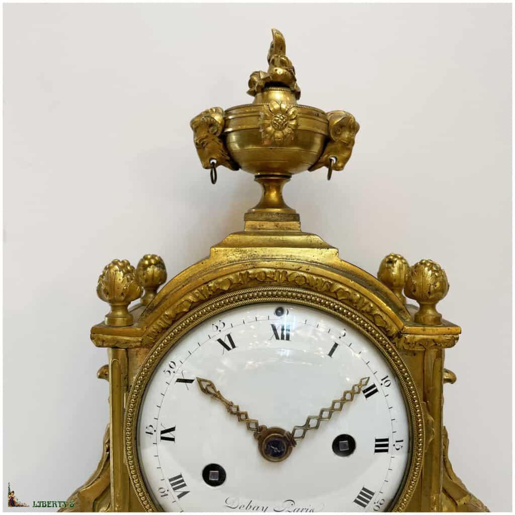 Pendule Louis XVI bronze doré au mercure et marbre blanc signée Debay Paris, mouvement avec suspension à fil de soie, aiguilles ajourées, haut. 36.5 cm (Fin XVIIIe) - 2