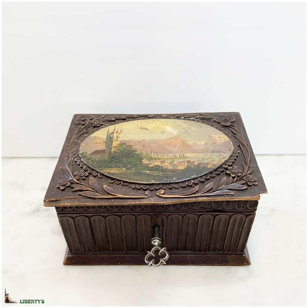 Boîte en bois avec décor peint Lac leman, 11.5 cm x 8.5 cm