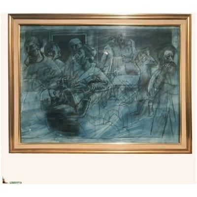 Dessin-aquarelle encadrée de Grégoire Michonze (Kichinev 1902-Paris 1982), 82 cm x 63 cm (1970)