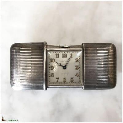 Montre de poche Art Deco argent Ermeto Movado, ouvrant à crémaillère (1930-1940)