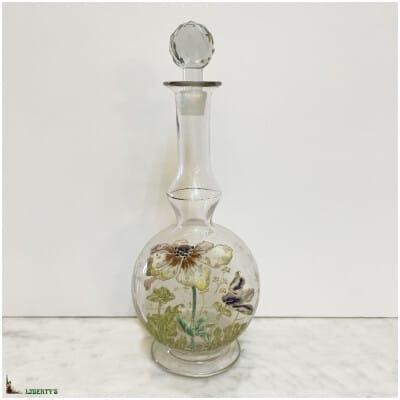 Carafe en verre émaillé décor d'anémones , haut. 23 cm (Deb. XXe)