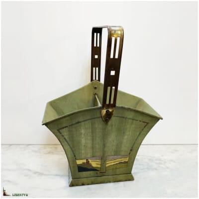 Ramasse couverts Art-Deco en tôle peinte, haut. 31 cm (Deb. XXe)
