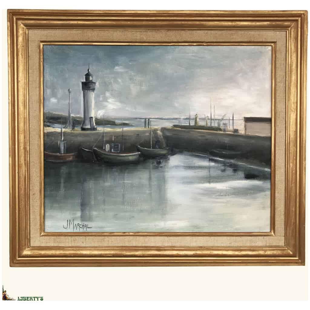 """Huile sur toile encadrée """"Le vieux bassin"""" signée J. Marchal, 46 cm x 38 cm (Fin XXe)"""