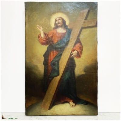 """Peinture sur toile """"Christ portant sa croix"""", 32 cm x 51 cm, XIXe"""