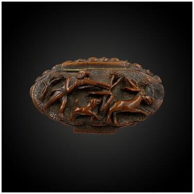 TABATIÈRE figurant une SCÈNE de CHASSE France, Première moitié du XIXème siècle