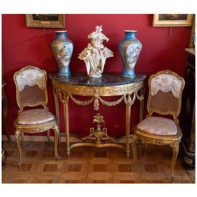 Console Louis XVI en bois doré XVIIIe siècle