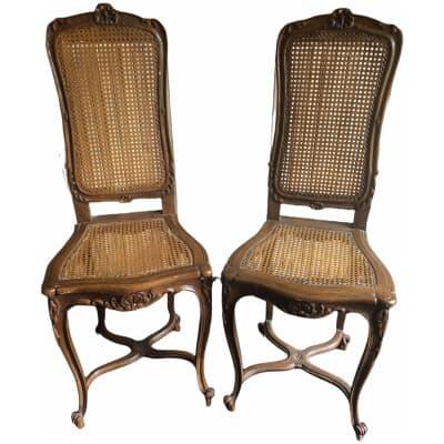 Chaises de harpiste ? en bois naturel 19ème siècle