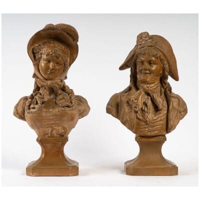Couple d'INCROYABLE et MERVEILLEUSE en terre cuite XIXème
