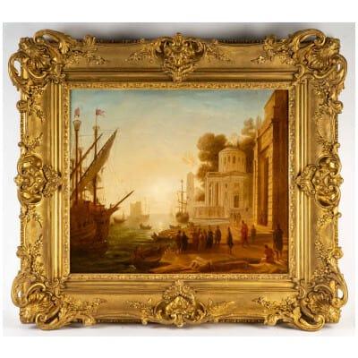 D'après Claude Gellée dit Le Lorrain Le débarquement de Cléopâtre école Française du XIXeme siècle