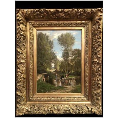 Georget Charles Peinture XIXème Siècle Paysage Environ De Melun Huile Sur Toile Signée