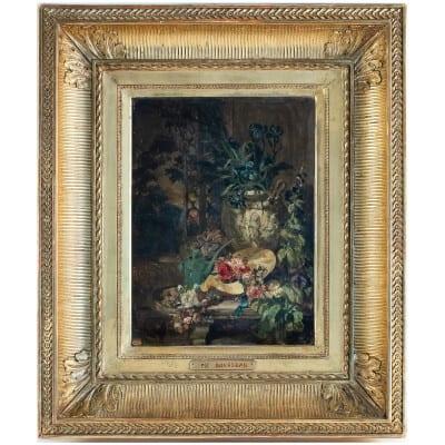 Philippe Rousseau huile sur panneau Bouquet d'Iris Bleu XIXème siècle