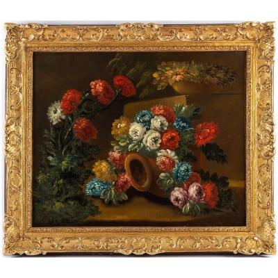 École Française du début du XIXème siècle huile sur toile Bouquets de Pivoines sur des Entablements