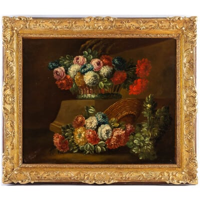 École Française du début du XIXème siècle huile sur toile Double Bouquets de Pivoines sur des Entablements