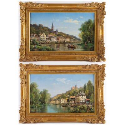 Charles-Euphrasie Kuwasseg Maisons dans les Alpes en bord de rivière vers 1870-1880
