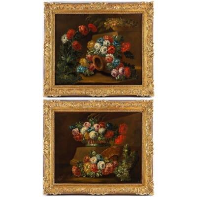 École Française du début du XIXème siècle Paire d'huiles sur toiles Bouquets de Pivoines sur des Entablements