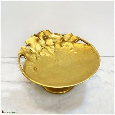 Coupe sur pied Art-Nouveau bronze doré, signée F. Claessens, diam. 20 cm (Deb. XXe)