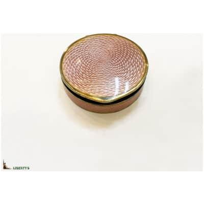 Boîte à pillules en vermeil et émail guilloché rose, diam. 4.5 cm (Deb. XXe)