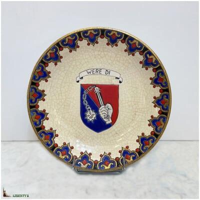 """Plat creux """"Were Di"""" Emaux de Longwy, diam. 22.5 cm, Beg. 20th century (1968)"""