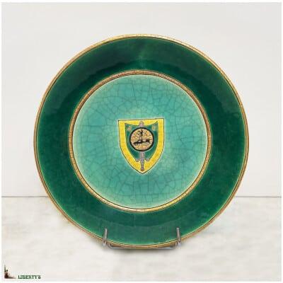 Plat creux Emaux de Longwy, diam. 22.5 cm, (1960-1970)