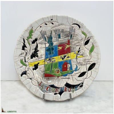 """Assiette """"La Courneuve"""" Emaux de Longwy, diam. 25.5 cm (1960-1970)"""