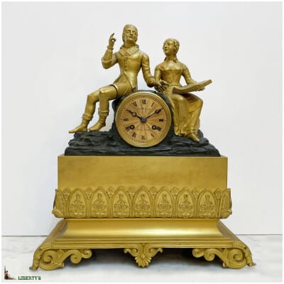 Pendule en bronze doré au mercure et patiné, mouvement à suspension à fil de soie et aiguilles ajourées, haut. 48 cm, (Deb. XIXe)