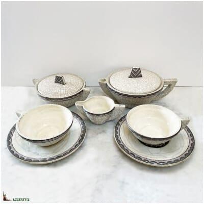 Service à thé Art-Deco tête à tête Emaux de Longwy, avec Théière + Sucrier + Crémier + 2 Tasses + 2 sous tasses (1910-1920)