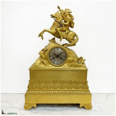 "Ormolu gilt bronze clock ""Napoleon Bonaparte on horseback"" silk suspension, 47 cm height, (Deb. XIXe)"
