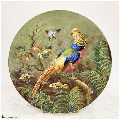 Grand plat avec faisan Emaux de Boch Frères Keramis, pièce signée par Perurges, diam. 44.5 cm (Fin XIXe)