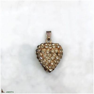 Pendentif coeur dorée avec strass, larg. 2.5 cm, (1970-1980)