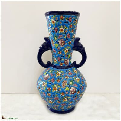 Vase avec anses têtes d'éléphants Emaux de Longwy, haut. 33.5 cm, (1930-1940)
