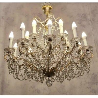 Lustre Corbeille Swarovski – 15 Bras de lumière – Bronze & Cristal – 20ème