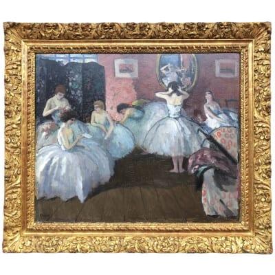 COSSON Marcel Tableau Début 20è L'habillage avant le représentation Peinture Huile Signée