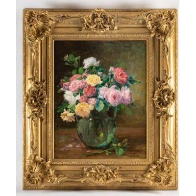 Justin Jules Claverie (1859 – 1932) : Bouquet de roses.