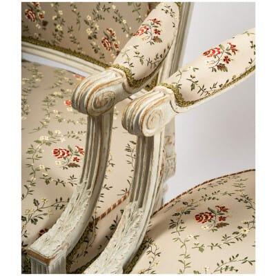 Georges Jacob Paire de fauteuils commandés en 1780 pour le Grand Salon du Château de Beauregard